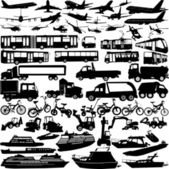 Transportation silhouettes — Stock Vector
