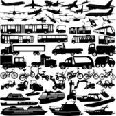 Transportation silhouettes — Stock Vector