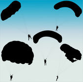 Parachutists silhouette — Stock Vector