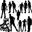Stock Vector: Rollerskating silhouettes
