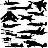 Military airplanes collection — Stock Vector