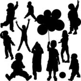 Children silhouettes — Vector de stock
