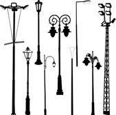 Street and garden lamps — Stock Vector