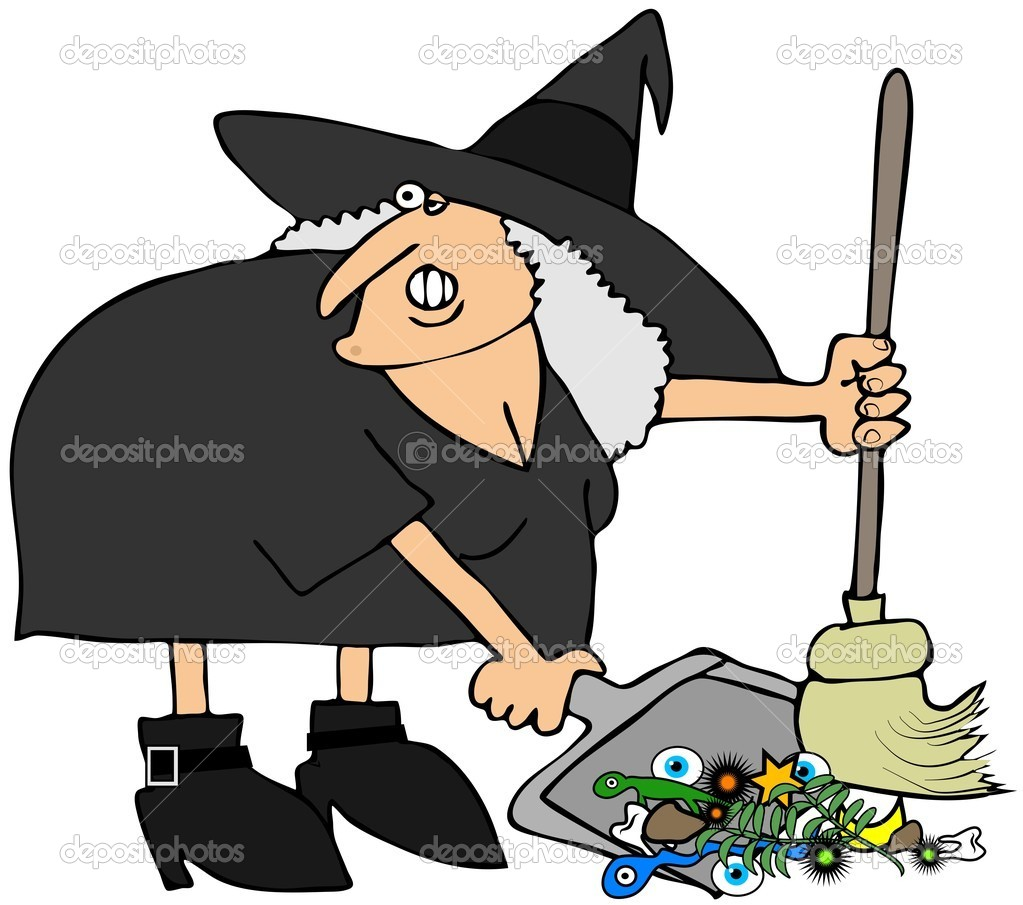 This illustration depicts a witch sweeping up items from a potion. — Stock Photo #12223675