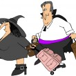 Traveling witch and vampire - Stock Photo