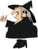 Witch talking on a cellphone — Stock Photo
