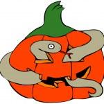 Snake in a pumpkin — Stock Photo