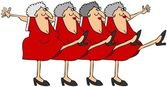Old woman chorus line — Stock Photo