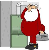Santa fixing a furnace — Stock Photo