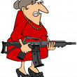 Woman holding a rifle — Foto de Stock