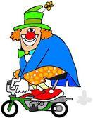 Clown on a mini bike — Stock Photo