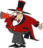 Ringmaster with a megaphone — Stock Photo