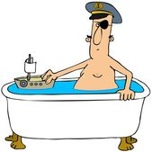 Pirate in a bathtub — Stock Photo