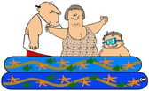 Family in a kiddie pool — Stock Photo