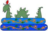 Sea serpent in a kiddie pool — Stock Photo