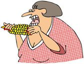 Woman eating corn on the cob — Stock Photo