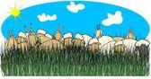 Sheep & goats in tall grass — Stockfoto