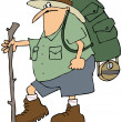 Hiker with a backpack — Stock Photo