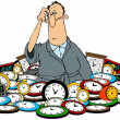 Man in a pile of clocks — Stock Photo