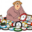 Woman setting clocks — Stock Photo