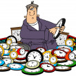 Man setting time on clocks — Foto Stock