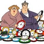 Husband & wife setting clocks — Stock Photo