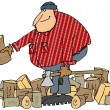 Lumberjack splitting wood — Stock Photo