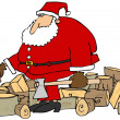 Santa splitting logs — Stock Photo