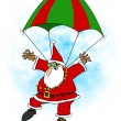Stock Photo: Crazy Santskydiver
