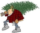 Man carrying home a Christmas tree — Stock Photo