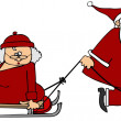 Santa pulling Mrs Claus on a sled — Stock Photo #37350151