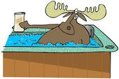 Moose in a hot tub — Stock Photo