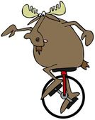 Moose riding a unicycle — Stock Photo