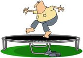 Man jumping on a trampoline — Stock Photo