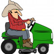 Cowboy on a riding lawnmower — Stock Photo #45921379