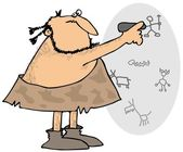 Caveman drawing on a wall — Stock Photo