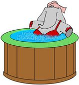 Elephant in a hot tub — Stock Photo