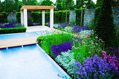Garden with a pool — Stock Photo
