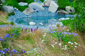 Giardino con lago blu — Foto Stock