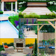 Royalty-Free Stock Photo: Collage of 5 garden landscapes