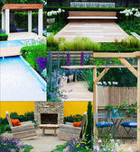 Collage of 5 garden landscapes — Stock Photo