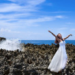 Stock Photo: Beautiful bride in dreams