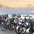 Stock Photo: Bikes on pier