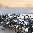Bikes on pier — Stock Photo
