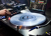 DJ plays set in vinyl player — Stok fotoğraf