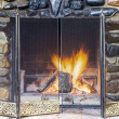 Stone fireplace — Stock Photo
