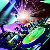 Dj playing the track — Stockfoto