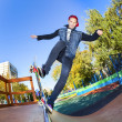 Stock Photo: Skateboarder in skatepark