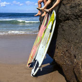 Two friend surfer sitting on rock — Stock Photo