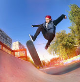 Skateboarder in the skatepark — Foto de Stock